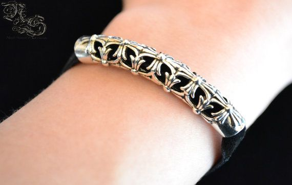 Bracelet Cathare  Black velvet templar cross gothic medieval  North Shaman