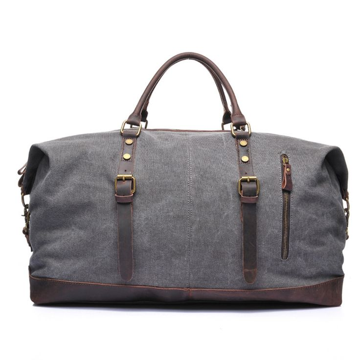 Waxed Canvas Leather Travel Bag/ Dufulle Bag/ Holdall Luggage/ Weekender Bag 12031 - Thumbnail 2