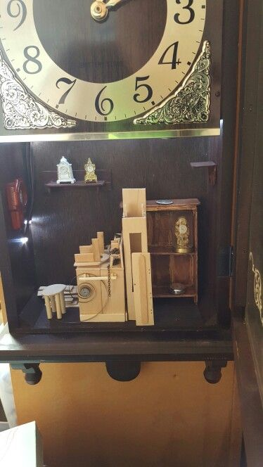 The Clock Shop is filling up with the Clock maker building a Grandfather Clock.