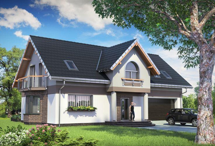Projekt domu Dymsza Polo G2 to funkcjonalny dom z przestronną częścią gospodarczą i garażem dwustanowiskowym