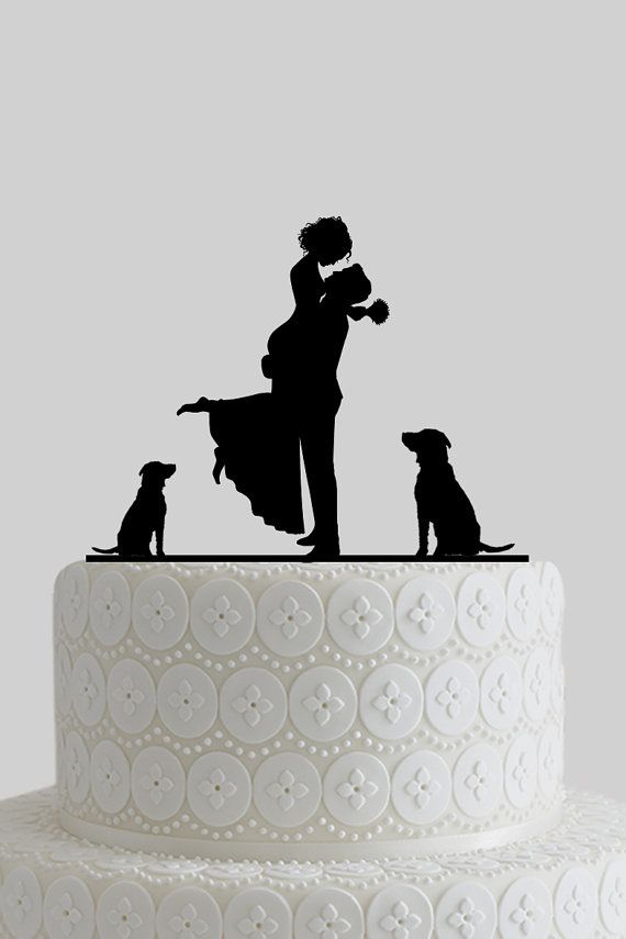 Custom Wedding Cake Toppers, Mr and Mrs Cake Topper, Bride and Groom Silhouette with Dogs, Personalize Last Name, Acrylic Cake Topper A619