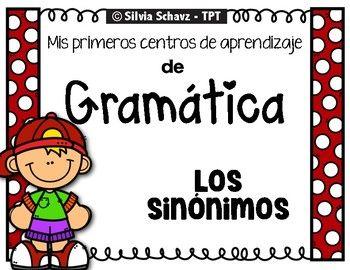 Mis primeros Centros de aprendizaje de gramática -los sinónimos, es un centro de aprendizaje para practicar el uso de sinónimos en forma sencilla, pero efectiva. Incluye 7 centros de aprendizaje. Cada centro de aprendizaje contiene: Un rótulo sencillo donde explica como trabajar