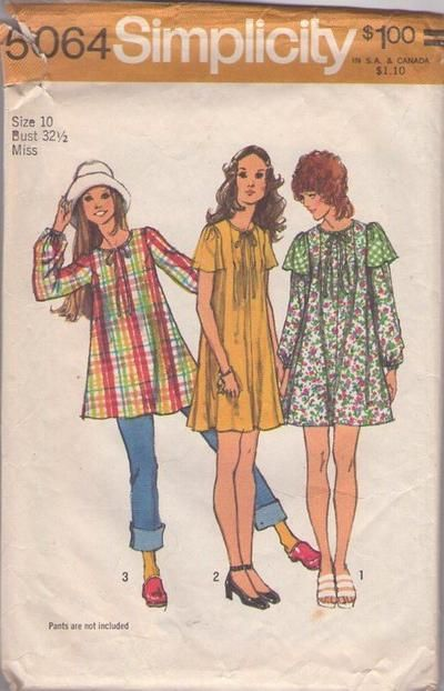 MOMSPatterns Vintage Sewing Patterns - Simplicity 5064 Vintage 70's Sewing Pattern SO CUTE Mod Smock Top Blouse, Double Flutter Cap Sleeve M...