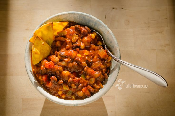The Best Vegan Chili! I used pinto, black & garbanzo beans...added I chopped jalapeño and half a package of veggie crumbles and it has the PERFECT amount of spice! Great on baked potato or with a few crackers. This will be my go to chili now!