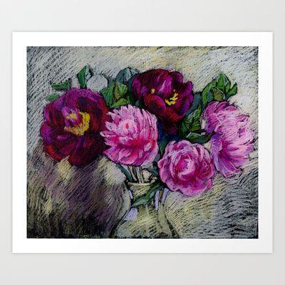 Peonies in a vase. Soft pastel painting. Art Print by Kira Sokolovskaya - $14.52  #peonies#flowers#softPastel#sell#sale#print#stillLife#painting
