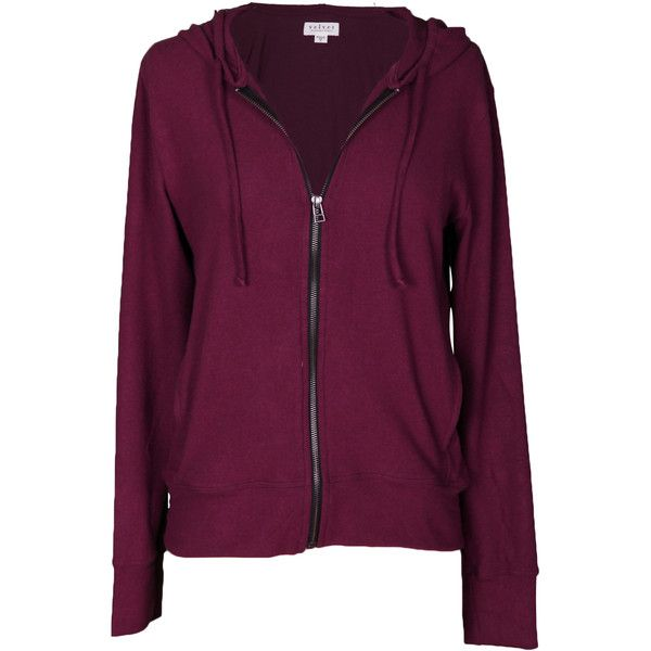 Velvet by Graham and Spencer Aviana Cozy Jersey Zip Up Hoodie ($125) ❤ liked on Polyvore featuring tops, hoodies, purple, zip up hoodie, long sleeve tops, long sleeve hooded sweatshirt, purple hoodies and purple hooded sweatshirt