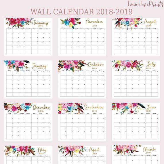 Large Wall Calendar 2019 Floral calendar Desk Calendar ...