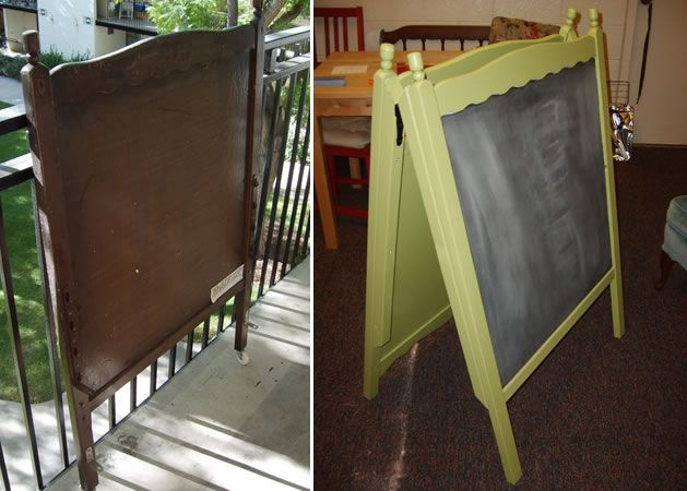 Great idea! Crib into chalkboard easel--easily found on Craigslist!