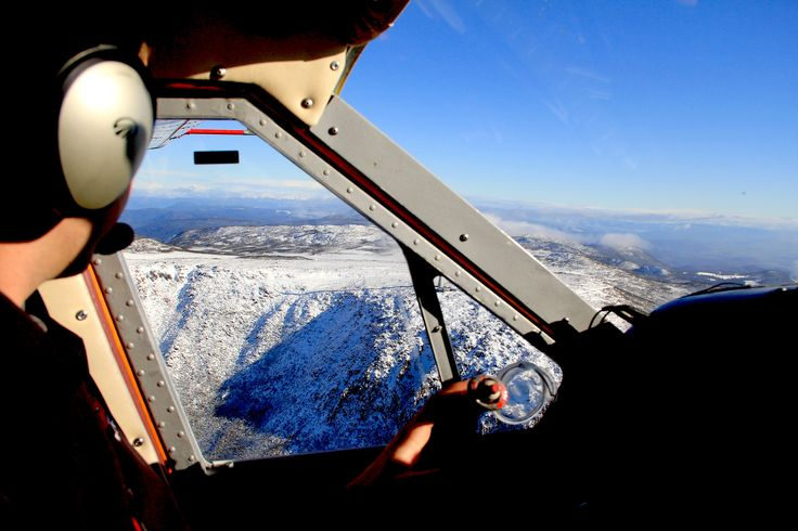Nick, enjoying the view from his TAA office - Mt Wellington with fresh snow.
