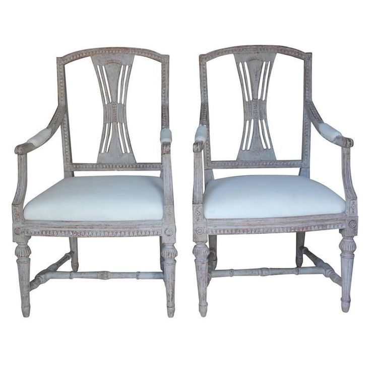 Swedish Gustavian Period Antique Armchair Pair in Original Paint, 18th Century | From a unique collection of antique and modern armchairs at https://www.1stdibs.com/furniture/seating/armchairs/