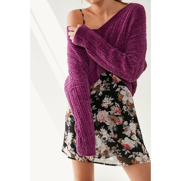 Silence + Noise Slouchy Chenille High/Low V-Neck Sweater ($59) ❤ liked on Polyvore featuring tops, sweaters, slouchy off the shoulder sweater, slouchy sweater, off shoulder tops, deep v-neck sweaters and purple off the shoulder top
