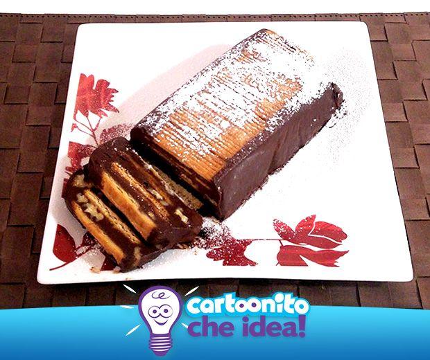 TORTA DI BISCOTTI E CIOCCOLATO (SENZA COTTURA)  #CartoonitoCheIdea #Cartoonito #ricette #dolci #torta #bambini #kids #genitori #food #cake #cioccolato