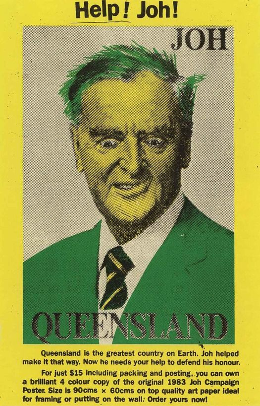 Political #Poster representing Joh Bjelke-Petersen, premier of Queensland from 1968 to 1989 / #design by Inkahoots [Australia]