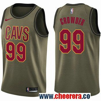 Men's Nike Cleveland Cavaliers #99 Jae Crowder Green Salute to Service NBA Swingman Jersey