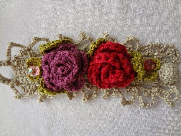 #Crochet rose bracelet pattern for sale from Little Treasures