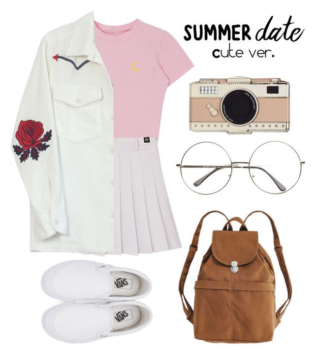"""""""Summer date night outfit {cute/casual version}"""" by trishsa on Polyvore featuring BAGGU, Vans, Kate Spade and Bliss and Mischief"""