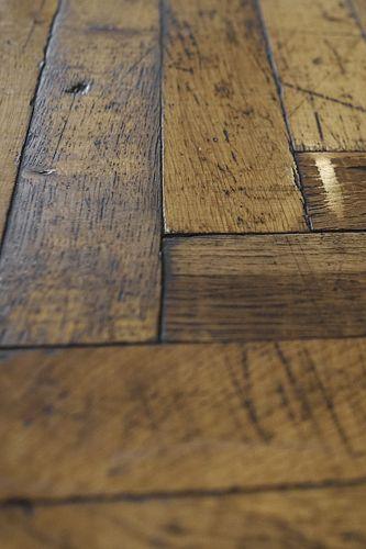 Antique French Oak Parquetry in Herringbone Pattern