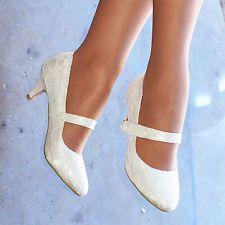 Ladies Ivory Bridal Shoe Mary Jane Strap Womens Low heel Wedding Court  S30485