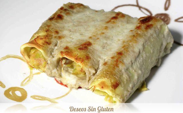 Deseos Sin Gluten: CANELONES DE PUERROS Y CHAMPIÑONES SIN GLUTEN