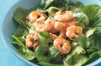 Prawn salad with pickled cucumber