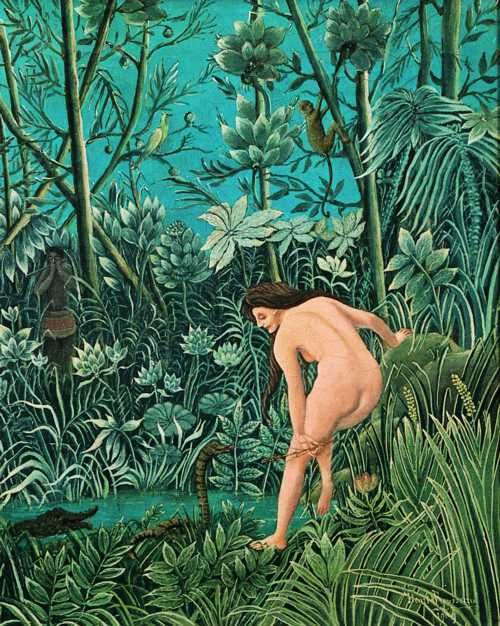 It's the figure in the background. Ah, Henri Rousseau!