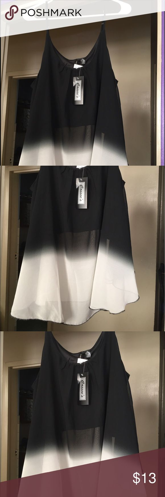 Sheer Black and White Ombré Top Brand New Sheer Black and White Ombré Top in size XL. 100% Polyester. Beautiful Spaghetti Strap Top. Perfect with a pair white tight jeans or jeggings and a nice wedge shoe. Tops Blouses