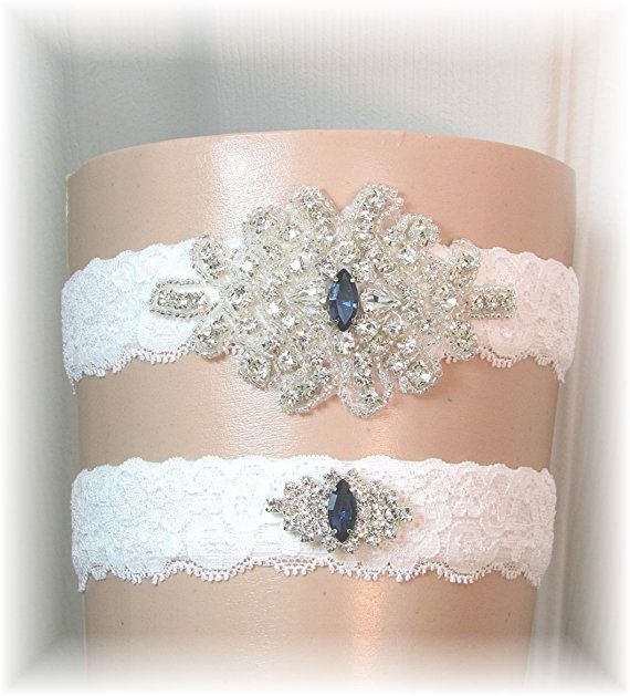 Items Similar To Bridal Garter Set Wedding Stretch Lace Garters With Navy Blue Accent Crystals Keepsake And Toss Belt