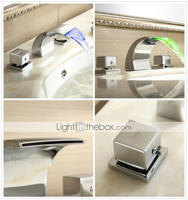 Sprinkle® by lightinthebox - cambio de color llevado cascada generalizada grifo del fregadero cuarto de baño (cromado) - USD $ 87.36 | LightInTheBox