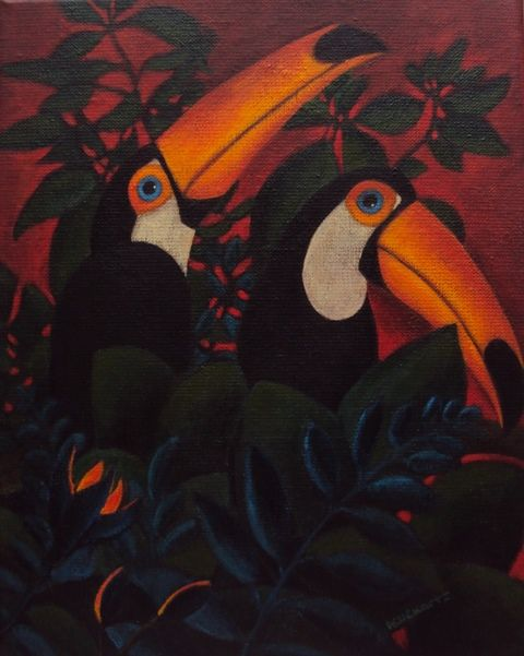 Toco Toucans from Rotterdam Zoo, acryl on canvas 2016, Angela Kuckartz