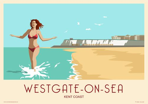 Westgate-on-Sea near Margate. Railway Poster style Illustration by www.whiteonesugar.co.uk Drawing by Nigel Wallace of White One Sugar.