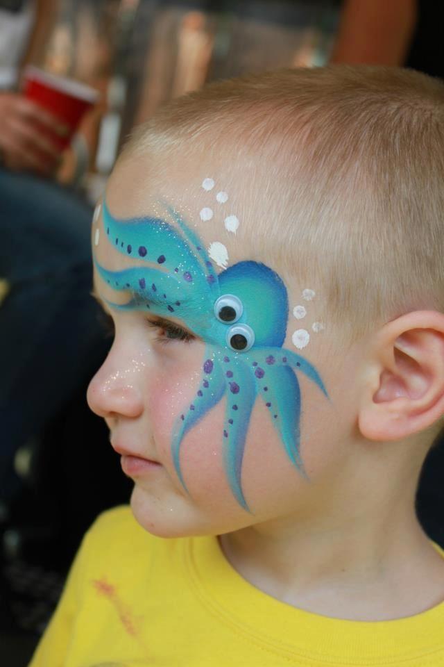 Cute octopus facepaint / oktopus schmink gepind door www.hierishetfeest.com