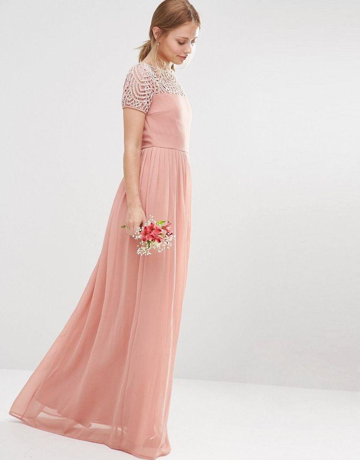 Image 4 ofMaya Pleated Maxi Dress With Pearl Embellishment