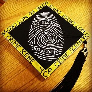 Criminal justice | 31 Graduation Caps That Absolutely Nailed It. LOVE these. Hogwarts and frozen themed ones too..this is great!