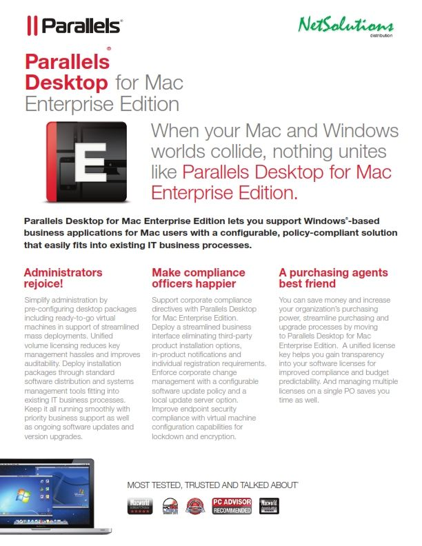 PT. #Netsolutions Infonet #Parallels Desktop for Mac Enterprise Edition lets IT teams say YES to Macs while meeting their own internal requirements