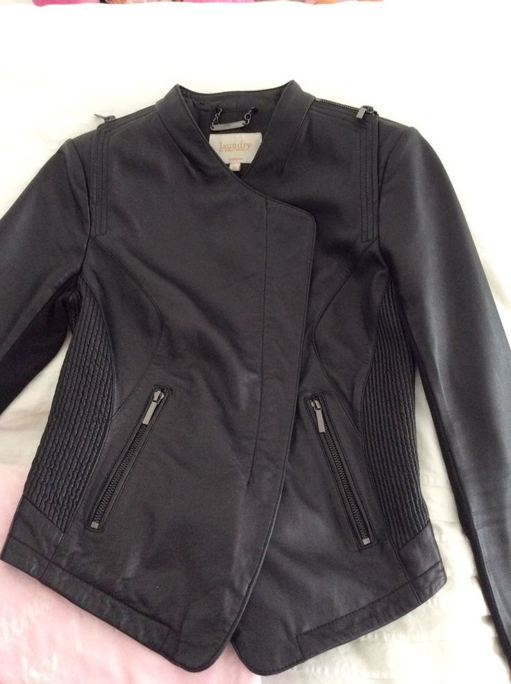 Women's Leather Jacket Size XSmall BY Laundry Shelli Segal Black Moto Used Once #Laundry #Motorcycle
