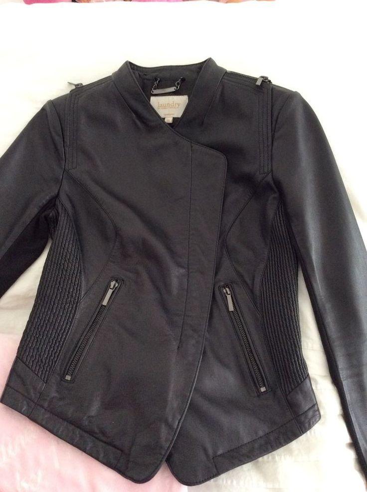 Women's Leather Jacket Size XSmall BY Laundry Shelli Segal Black Moto Used Once #Laundry #Motorcycle