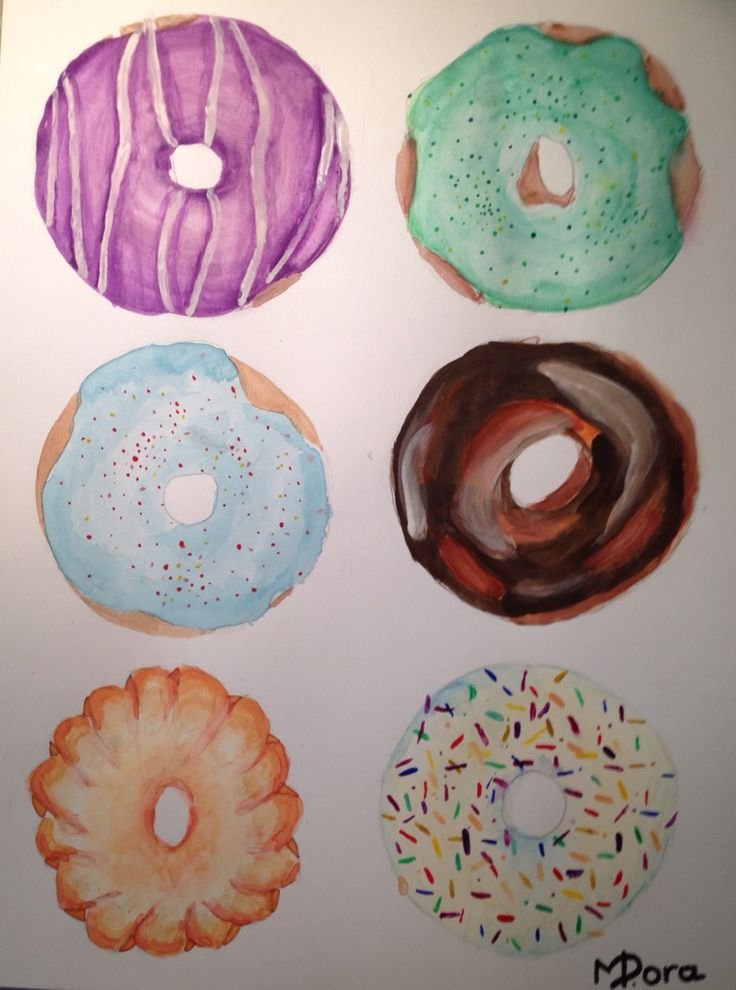 Supper cool donat painting with watercolor by Dora Meidani. Do you like it ???