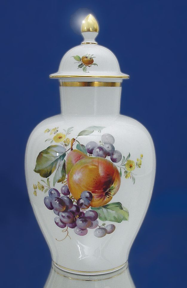 Vase, 2 fruits, gold rim, H 23 cm