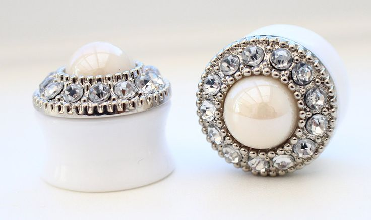 Rhinestone Shiny Ivory Pearl Ear Plugs / Gauges by PrettyBigPlugs, £12.00