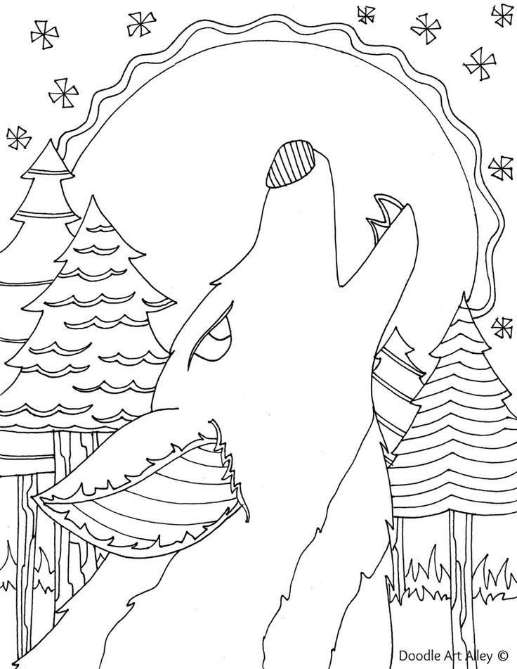 Forest Animal Coloring Pages Doodle Art Alley Crafts