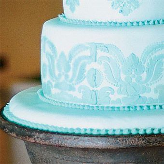 Tall Blue Damask Wedding Cake