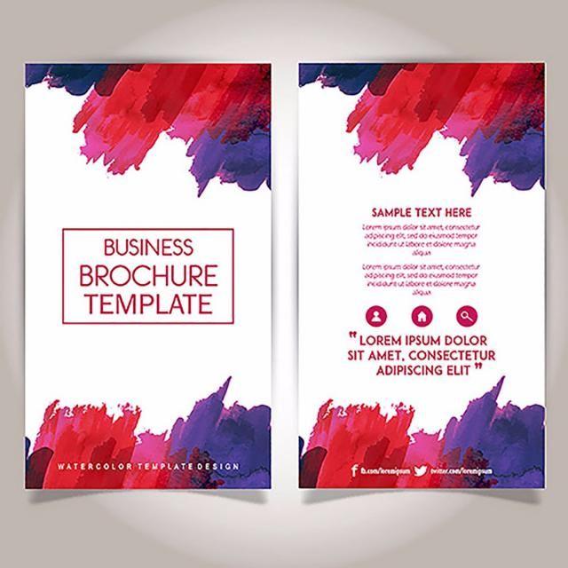 Hand Drawn Watercolor Brochure Template Design