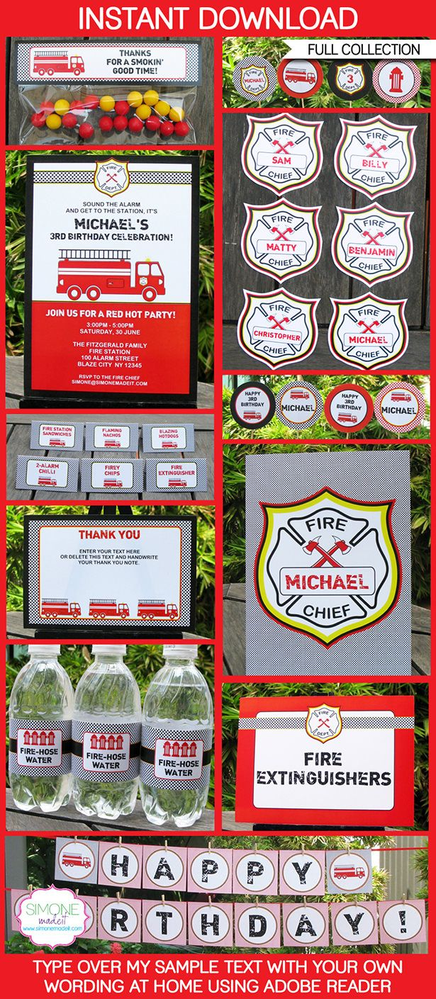 Fireman Party Printables, Invitations & Decorations | Editable Birthday Party Theme Templates | INSTANT DOWNLOAD $12.50 via SIMONEmadeit.com