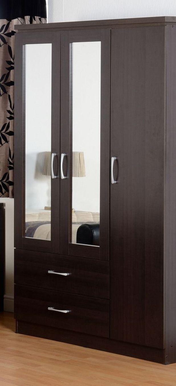Three Door Wardrobe With Double Mirror Furnituredesigns Wardrobe Door Designs Apartment Furniture Layout Wardrobe Interior Design