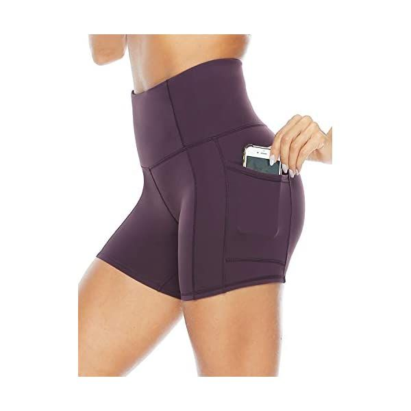 Persit Womens High Waist Workout Yoga Shorts with Side /& Inner Pockets Non See-Through Tummy Control Athletic Shorts