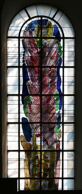 Die Jakobsleiter.  Wilhelm Buschulte, 1975   Fenster in der Südwand,   Antik-,Opalglas/Blei