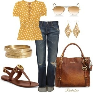 Fashion For Cruises - Click image to find more hot Pinterest pins: Polka Dots, Casual Friday, Fashion, Summer Outfit, Style, Color, Spring Summer, Gold, Spring Outfit