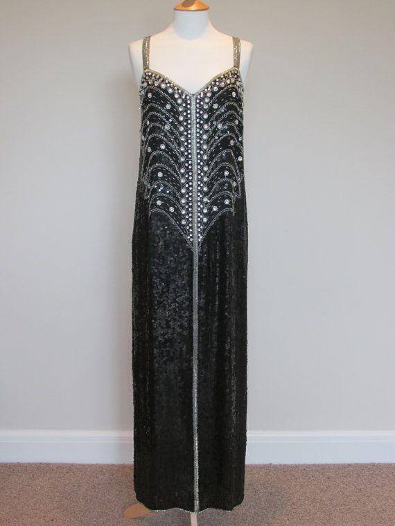 vintage flapper dress long sequin 80s vintage by SuperGirlVintage, £300.00