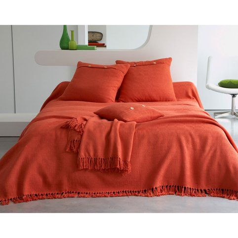 boutis plaid ou jet de canap jet de lit relief losanges becquet orange vue 1 orange is. Black Bedroom Furniture Sets. Home Design Ideas