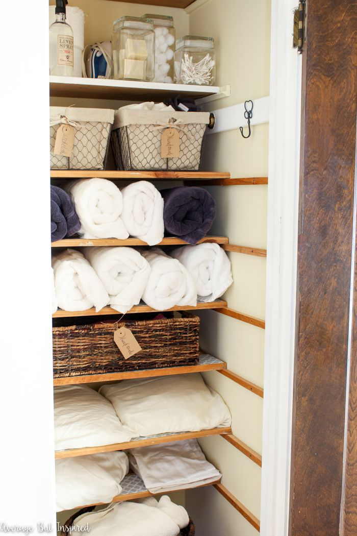 An Organized Linen Closet Makeover How To Get Maximum Storage In A Small Space Average But Inspired Organizing Linens Linen Closet Makeover Linen Closet